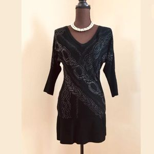 Cache Black Rhinestones Formal Dress Small